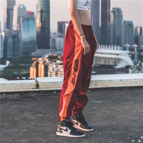 GZKHCOM 复古校裤男女情侣宽松印花国潮休闲潮流撞色运动长裤 A93032