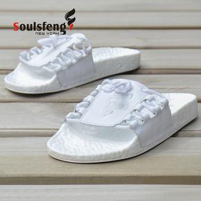 Soulsfeng男女款白色系带爆米花减震懒人休闲时尚夏季凉鞋拖鞋 SL180405