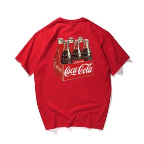 爆款!JOESPIRIT 趣味玩夏 轻便透气 生动有趣烫画 T恤 黑白两色 男女同款 coca cola YT036
