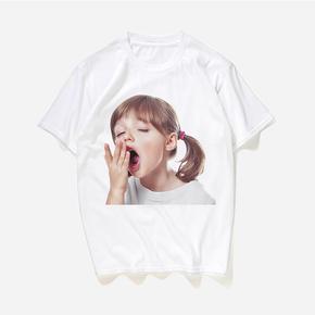 JOESPIRIT 趣味玩夏 轻便透气 生动有趣烫画 T恤 黑白两色 男女同款 sleepy girl YT056