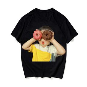 JOESPIRIT 生命不息 趣味不止 生动有趣烫画 T恤 黑白两色 男女同款 donut girl LT0007