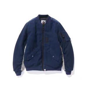 BAPE 湛蓝背后刺绣鲨鱼MA-1夹克外套 厚款