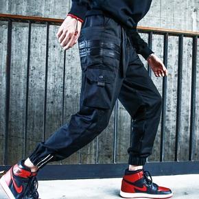 DMNIC秋冬機能反光織帶傘兵褲寬松工裝束腳褲子
