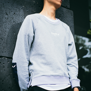 DMNIC 秋季Simple系列灰色侧拉链拼接卫衣男宽松运动简约街头潮牌