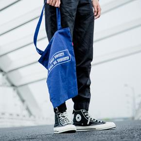 DMNIC 两色闪电印花手提帆布包购物环保袋单肩包百搭男女情侣