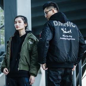 DMNIC 鲨鱼防水Ma1飞行员夹克外套男双面穿加厚保暖棉衣棒球服潮牌