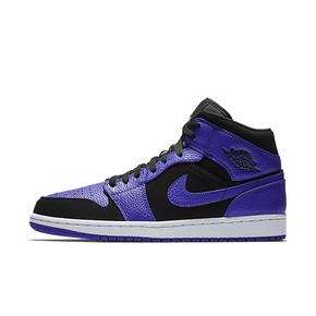 AIR JORDAN 1 Mid AJ1 小黑紫脚趾篮球鞋男 554724-051