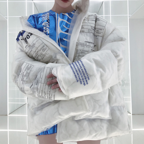 Hit the collection透明标签棉服外套加厚保暖秋冬ins面包羽绒服大衣