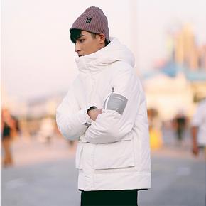 PSO Brand 18AW5 冬季纯色多口袋港风羽绒服连帽保暖加厚外套男 PS1042