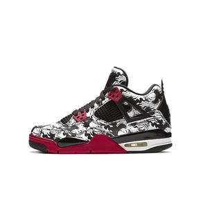 Air Jordan 4 AJ4 纹身刺青 涂鸦黑红篮球鞋GS 女款 BV7451-006(2018.11.1发售)