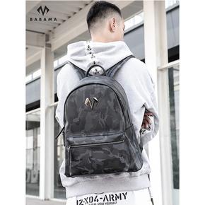 Babama运动旅行迷彩背包男士书包个性双肩包潮牌时尚潮流健身包