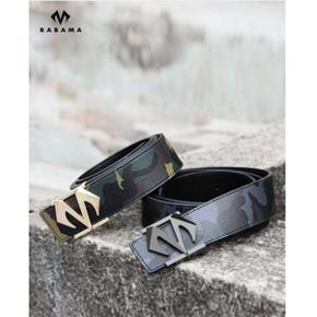 Babama2018新款迷彩皮带男士腰带板扣青年裤袋韩版个性平滑扣潮牌