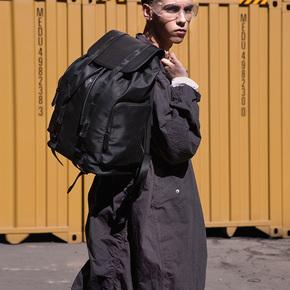 Babama2018韩版双肩包大容量背包时尚潮牌男包个性帆布男士书包