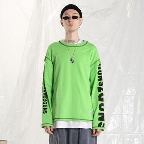 【2GUNS】潮牌荧光绿圆领无帽卫衣男女国潮嘻哈打底衫