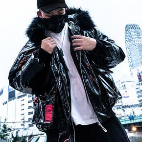 Killwinner冬季连帽漆皮潮牌嘻哈运动棉服男宽松街头加厚情侣棉衣