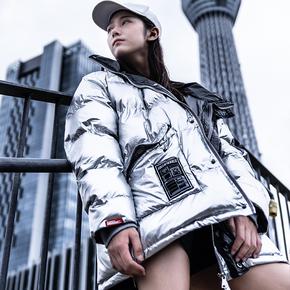 killwinner2018冬季新款连帽情侣款宽松银色棉服嘻哈潮牌加厚外套