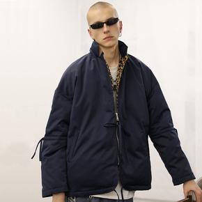 【2GUNS】潮牌复古豹纹拼接立体剪裁抽绳西装棉服棉衣
