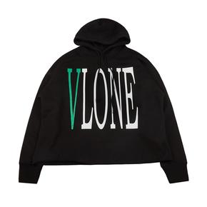 Vlone经典黑绿Logo字母标语背后大V帽衫