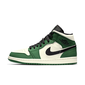 Air Jordan 1 Mid AJ1凯尔特人 中帮 乔一黑白绿篮球鞋 852542-301