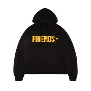 Vlone经典Friends字母标语黄V休闲套头帽衫