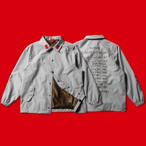 OSCill 房价 2Layer双层复合轻防水面料灰色金钱刺绣教练夹克外套