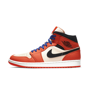Air Jordan 1 Mid AJ1中帮 白橘 白扣碎 852542-800
