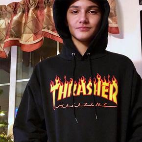 Thrasher火焰logo印花字母宽松套头连帽衫加绒口袋棉卫衣