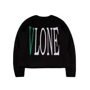 Vlone 经典黑绿Logo字母标语背后大V套头卫衣