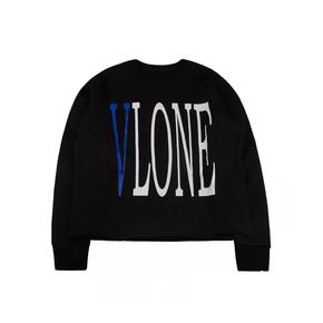 Vlone 经典黑蓝Logo字母标语背后大V套头卫衣