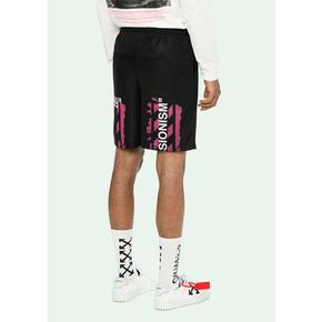 Off-White 19ss 粉色箭頭短褲