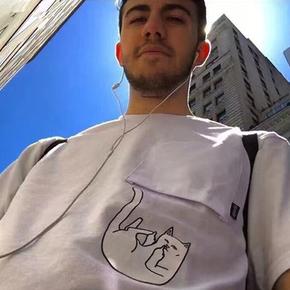 Rip N Dip 掉落猫中指贱猫 倒猫反口袋情侣短袖T恤