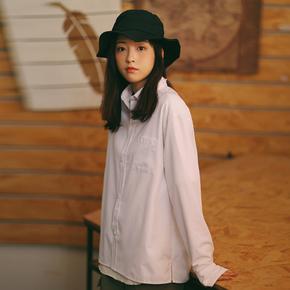 PSO Brand 19SS2 绣花款衬衣春季细条纹百搭男女情侣白色长袖衬衫