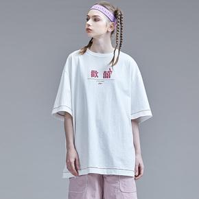 Guuka白色文字短袖T恤女宽松新款嘻哈情侣圆领纯棉印花五分袖T恤