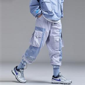 Guuka港风工装裤男潮牌 青少年嘻哈运动多口袋收口直筒阔腿裤宽松