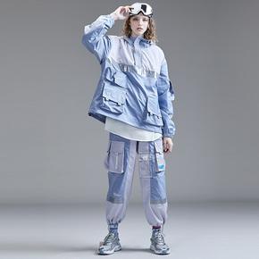 Guuka潮牌ins工装裤女直筒运动多口袋收口阔腿裤hiphop抽绳束脚裤