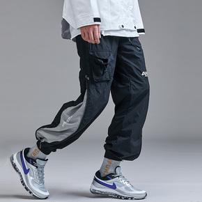Guuka高街撞色拼接运动束脚裤工装裤