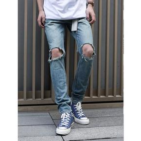 PCMY破洞牛仔褲黑色男女潮牌修身直筒韓版彈力藍色小腳乞丐鉛筆褲