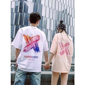 PCMY刷漆情侶裝T恤印花國潮嘻哈OS風ins粉色男女寬松潮牌短袖tee