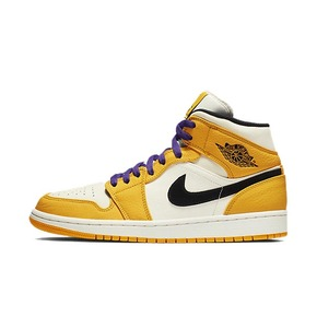 Air Jordan 1 Mid Lakers AJ1白橙紫金湖人篮球鞋 852542-700