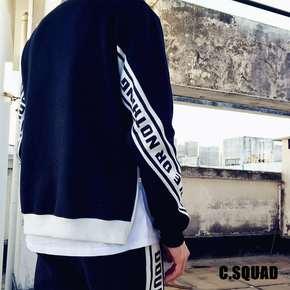 C.SQUAD 拉鍊拼接白条加绒卫衣343CS3