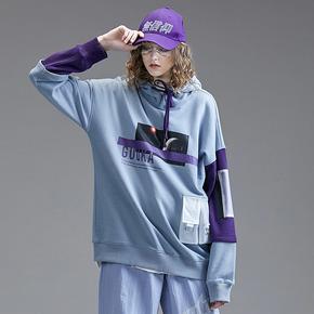Guuka潮牌假两件卫衣女连帽2019新款嘻哈拼接运动印花卫衣女宽松