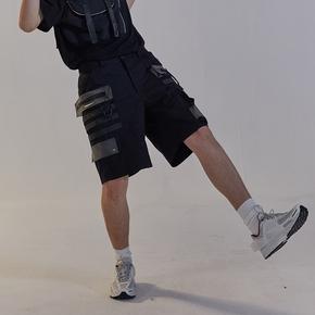 CHRROTA 机能国潮PVC多口袋伞兵休闲短裤宽松运动工装五分裤男