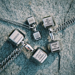 CHISELED(麒司特)银色钛钢哑铃项链 CSD0005-0006