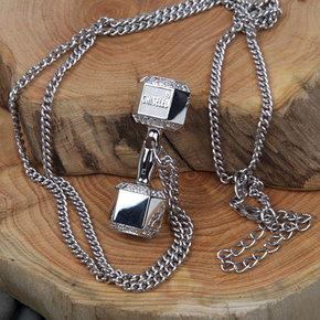CHISELED(麒司特)纯银半钻哑铃项链925银76颗钻 CSD0012