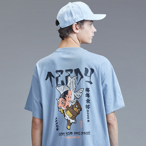 Guuka潮牌圆领短袖T恤男宽松日系卡通漫画锦鲤印花五分袖T恤男tee
