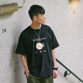 PSO Brand 19SS3 黑胶机鸡蛋款趣味印花短袖男女纯棉港风圆领T恤
