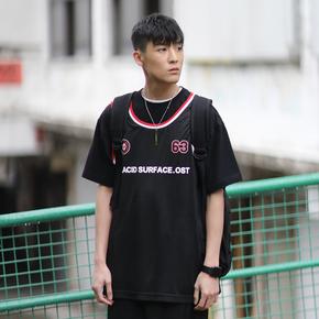PSO Brand 19SS3 限定款品牌全称印花轻便款黑红色运动篮球背心男