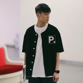 PSO Brand 19SS3 复古贴布绣花灯芯绒简约薄短袖棒球服外套
