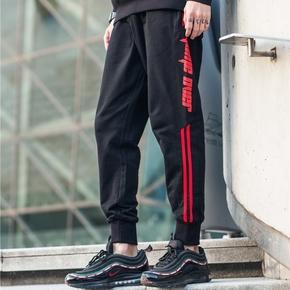 GZKHCOM GAMEOVER加绒卫裤复古条纹街头潮流纯棉长裤欧美潮束脚裤