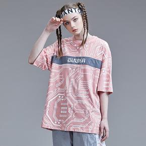 Guuka街头风粉色反光条T恤 女